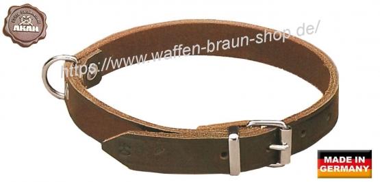 AKAH Halsband genietet aus Sattelleder, 16 mm breit, 27-34 cm verstellbare Länge