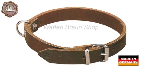 AKAH Halsband genietet aus Sattelleder, Halsbreite: 40 cm, 20 mm breit, 37-45 cm verstellbare Länge