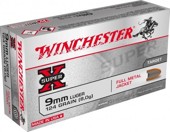 Winchester 9mm Luger Super-X FMJ 124 grain 50 Stück