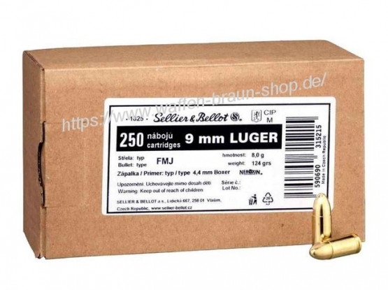 S+B 9mm Luger FMJ 124grs. 250 Stück
