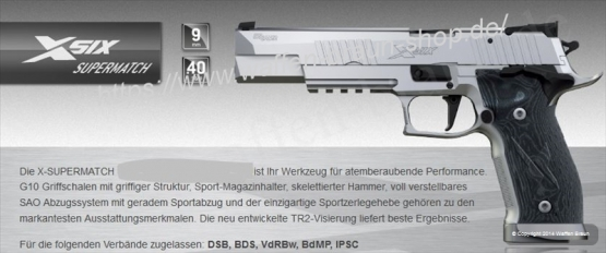 P226 X-SIX Supermatch Kal. 9 mm Para / SAO Adj. Silver SIG SAUER Pistole