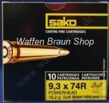Sako Büchsenpatronen 9,3X74 R / POWERHEAD SP / 16,2 G / 250 GRS 10 Stück