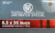 RWS 6,5x55 Match 6,5g/50Schuss (Sonderposten)